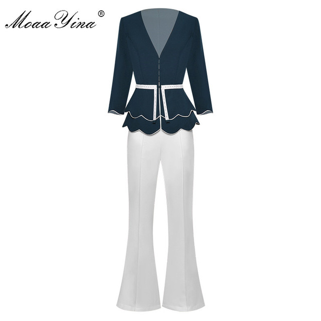 MoaaYina Fashion Designer Set Spring Summer Women V neck jacket Tops+Bell bottoms Two piece suit