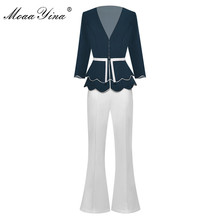 MoaaYina אופנה מעצב סט אביב קיץ נשים צווארון V מעיל חולצות + מתרחבים חליפת שני חלקים