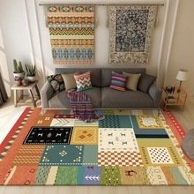 Fashion American Village Orange color door mat Geometric stitching floor mat living room plush rug bedside carpet custom made