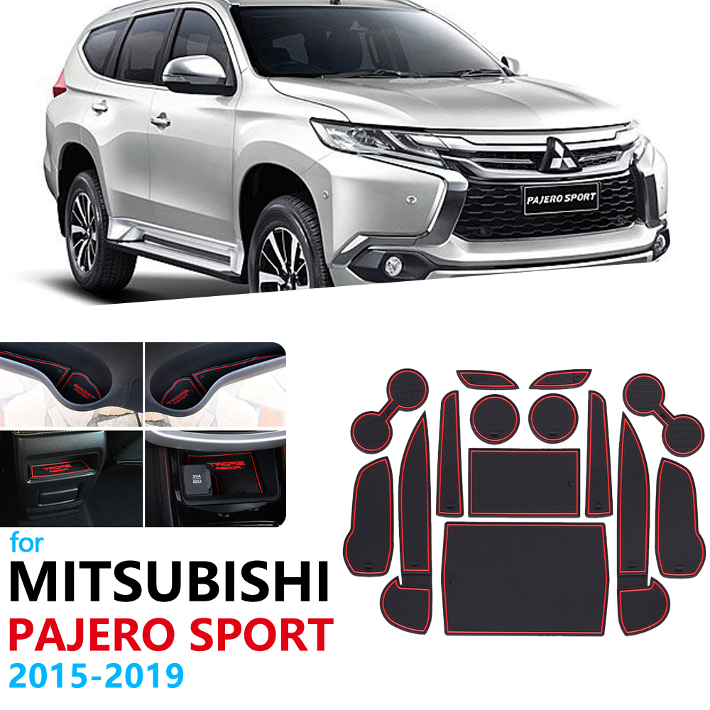 Anti-Slip Rubber Gate Slot Cup Mat For Mitsubishi Pajero Sport 2015 2016 2017 2018 2019 Montero Shogun Door Groove Mat Stickers
