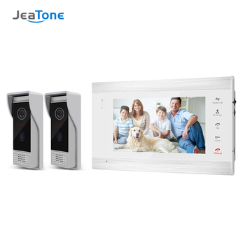 smartyiba 7 inch color display work for video intercom speakerphone system lcd tft hand free indoor monitor unit support unlock Jeatone 7 inch Video Doorbell Monitor Intercom With 2 x 1200TVL Outdoor Camera Door Phone Intercom System,Support  Unlock