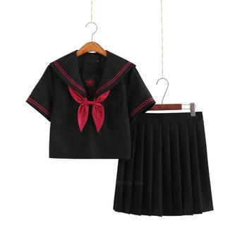 Strój marynarski dziewczyny japoński Korea styl Jk mundurek szkolny krótki i długi rękaw piekło plisowana spódnica akademia Anime Kawaii Cosplay tanie i dobre opinie COTTON Poliester WOMEN Zestawy School uniform Top+Skirt+Sock+Tie One top+tie