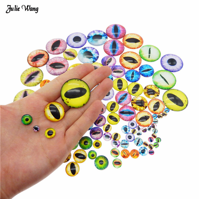 50pcs 6MM 8MM 10MM Round Dragon Cat Eyes Glass Cameo Flatback Cabochon Beads Multi Color Horse Eyes Pattern Crafts Accessory(China)