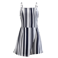 Summer Chiffon Rompers Jumpsuit Women Summer VogueStriped Strap Sleeveless Playsuit Sexy Backless Shorts Overalls For Women