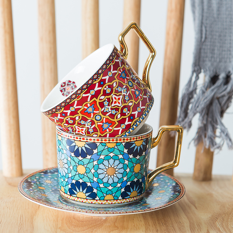 Moroccan Light Luxury Ceramic Coffee Cup European-Style Small Luxury Coffee Cup & Saucer Set Home Afternoon Tea Flower Tea Cup