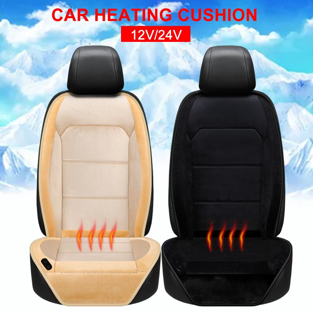 12V/24V Electric Short Plush Car Auto Heated Seat Cushion Cover Seat Heater Warmer Winter