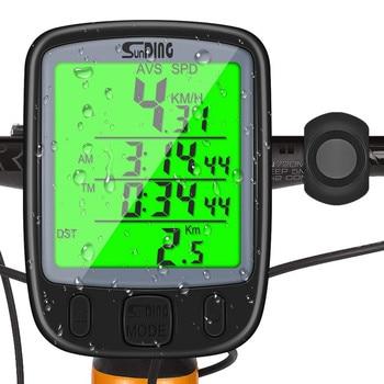 Reloj Digital luminoso multifuncional para bicicleta, a prueba de agua, con pantalla LCD, odómetro, velocímetro, para ciclismo # e