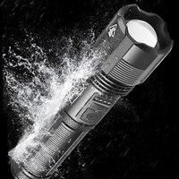 Linterna Led XHP100 de 9 núcleos, función de banco de energía, linterna USB recargable 18650 o 26650, batería con zoom, linterna de aleación de aluminio