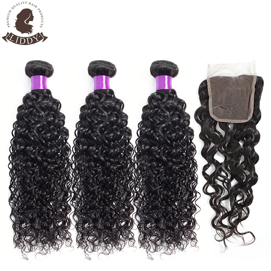 Liddy Bundles With Closure Peruvian Water Wave Hair Bundles With Closure 100% Human Hair Natural Color Non-remy Hair Extensions