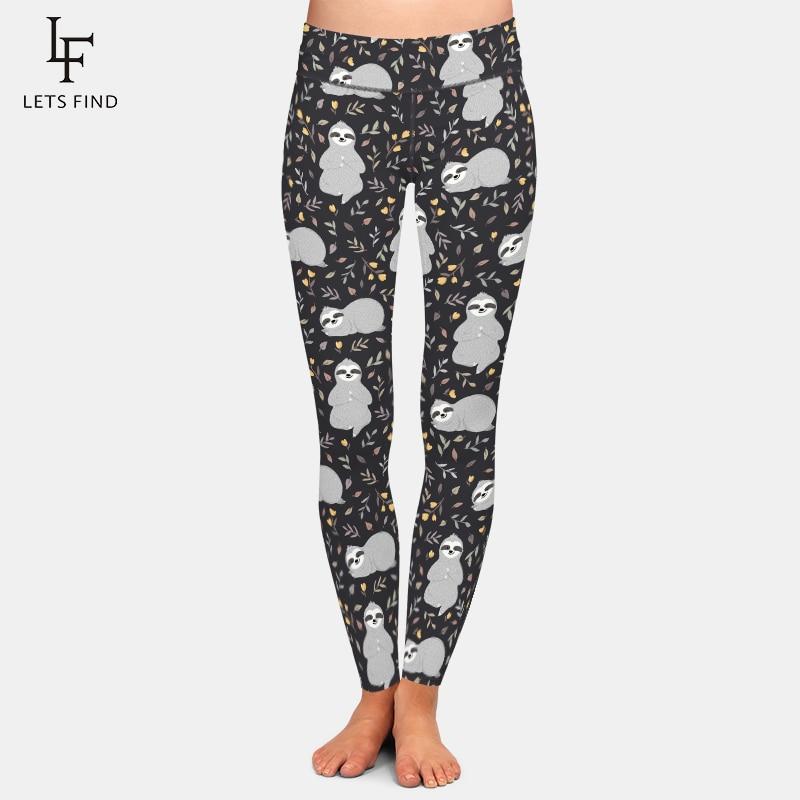 LETSFIND Cute Sloths Milk Silk Digital Printing Women Leggings Fashion High Waist Plus Size Comfortable Fitness Stretch Pants