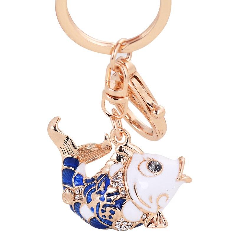Chinese Style Lucky Carp Key Pendant Rhinestone Carp Car Alloy Keychain Girls Bag Pendant Fish Key Chain Key Ring