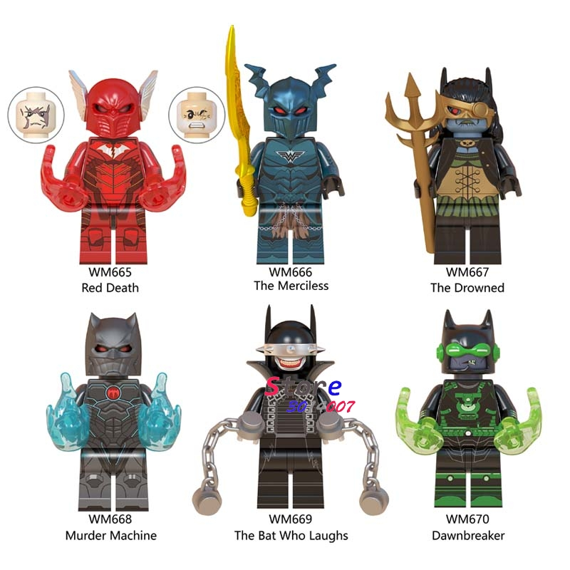 Single DC Superhero Batman Dark Nights Red Death The Merciless The Bat Who Laughs Drawnbreaker Building Blocks Kids Toys