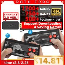 USB Беспроводная портативная ТВ-игровая консоль Data Frog, встроенная в 1700 классическую игру 4K, 8 бит, мини-видео консоль, поддержка HD выхода