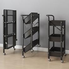 Installation-free Cart Rack, Portable Foldable Storage Three-layer Storage Rack for Kitchen and Bathroom Storage Organizer 2021