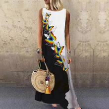 Sundress Women Summer Dress 2020 Print Floral Dress Midi Plus Size Casual Linen Loose Sleeveless printed Long Maxi Dress