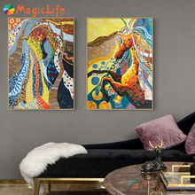 Color Painting Animal Horse wall art Abstract poster and prints vintage Wall Print Poster Picture for living room Decor unframed