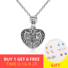 XiaoJing 925 Sterling silver forever in my heart pendant cremation Pattern urn necklace for Women unique memorial Jewelry 2019