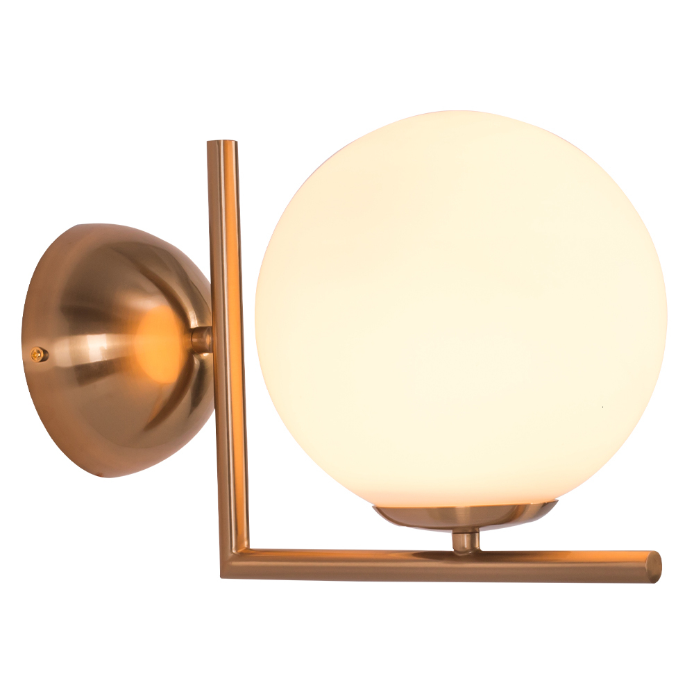 Indoor Nordic Classic Iron Brass Colour Led Lighting Bed Side Bedroom Round Shape Glass Globe Ball Wall Lamps For Home|Pendant Lights| |  - title=