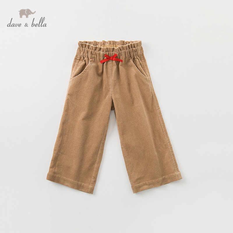 DBK11206 dave bella herfst kids meisjes mode broek kinderen boog solide boutique casual enkellange broek
