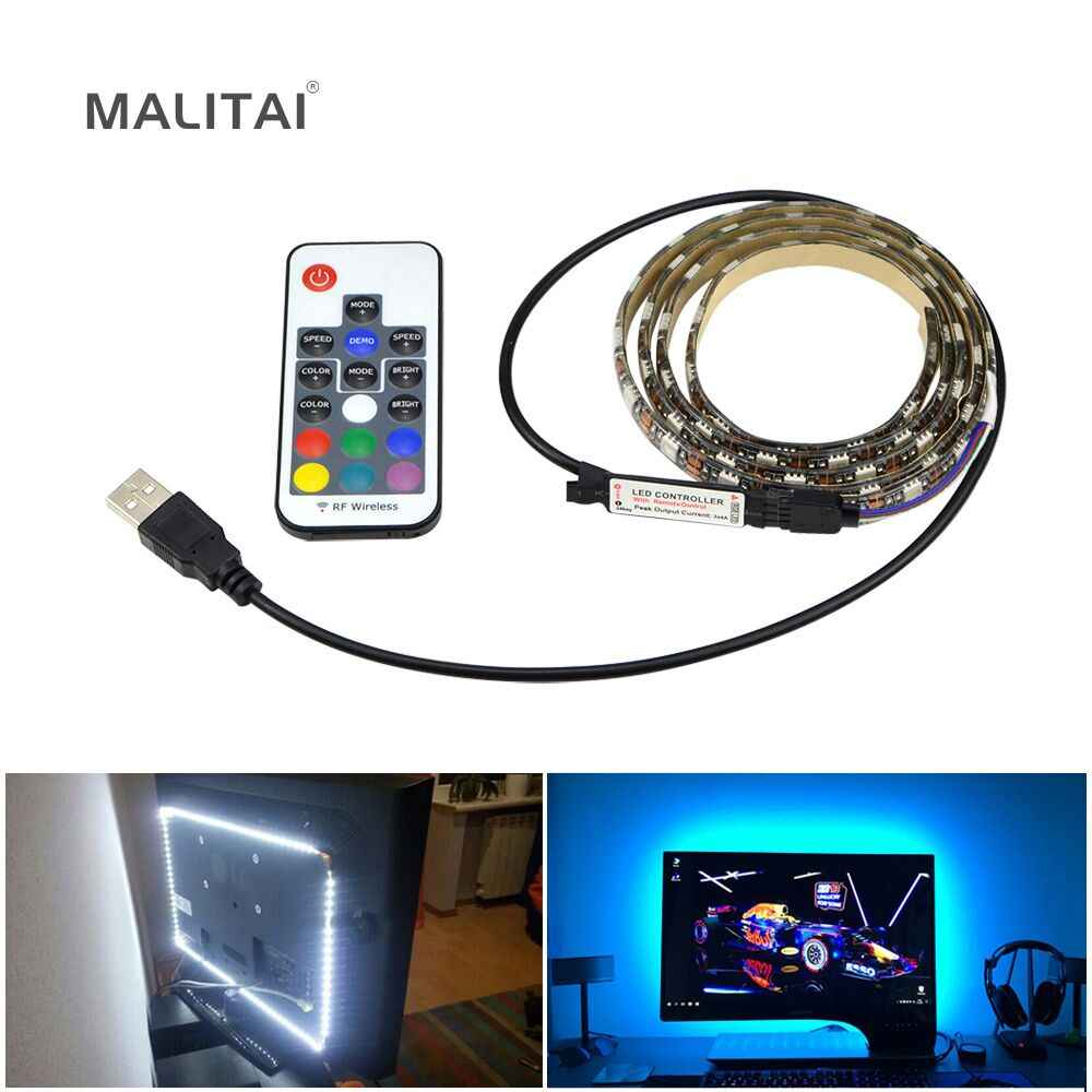 TV Backlight RGB LED Strip 5050 Tahan Air 5V USB Pita LED String Bias Lampu untuk HDTV Layar Desktop PC LCD Monitor Dekorasi