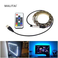 Светодиодная лента RGB с подсветкой для телевизора, 5050, водонепроницаемая, 5 В, USB, светодиодный, лента, смещенное освещение для HD ТВ-экрана, нас...