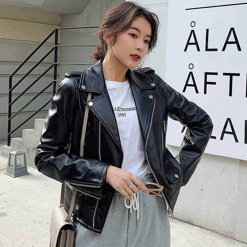 Women Plus Size Sheepskin Genuine Leather Jackets Autumn Slim Motorcycle Biker Jacket Ladies Real Leather Coats Chaqueta Mujer