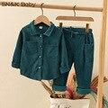 Рубашка и брюки для мальчиков и девочек, вельветовые рубашки и штаны, 2 комплекта одежды для отдыха, однотонные, новинка 2021