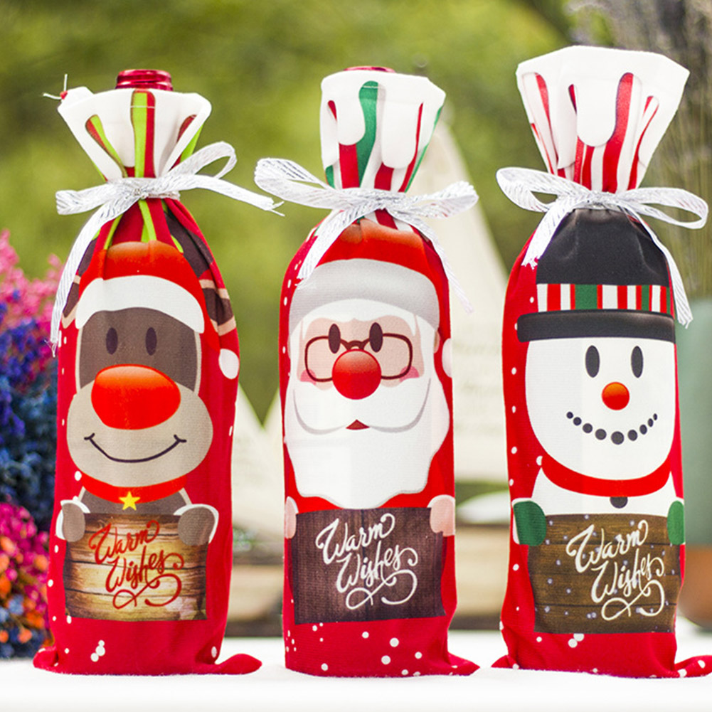 Red Wine Cute Christmas Santa Elk Bottle Cover Bag For Celebrate New Year Xmas Dinner Party Decoration Bottle Set