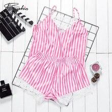 Suphis Sexy V Neck Lace Sleep Lounge Pajama Women Stripe Pri
