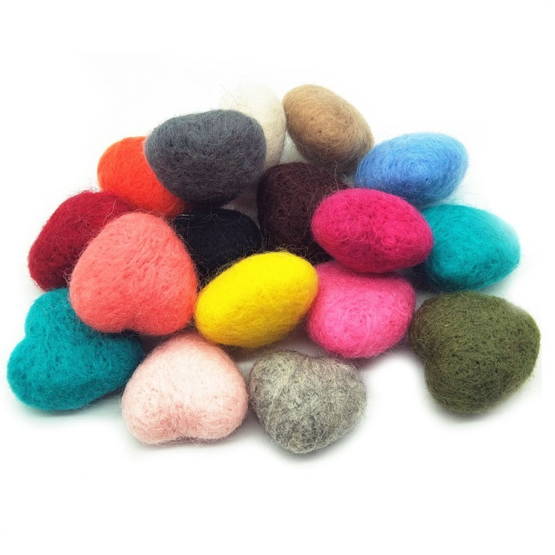 10pcs DIY  Mixed Colour Heart Craft Felt Supplies for Kids Wool Felting Handmade Sewing Toys Random Delivery Wholesale