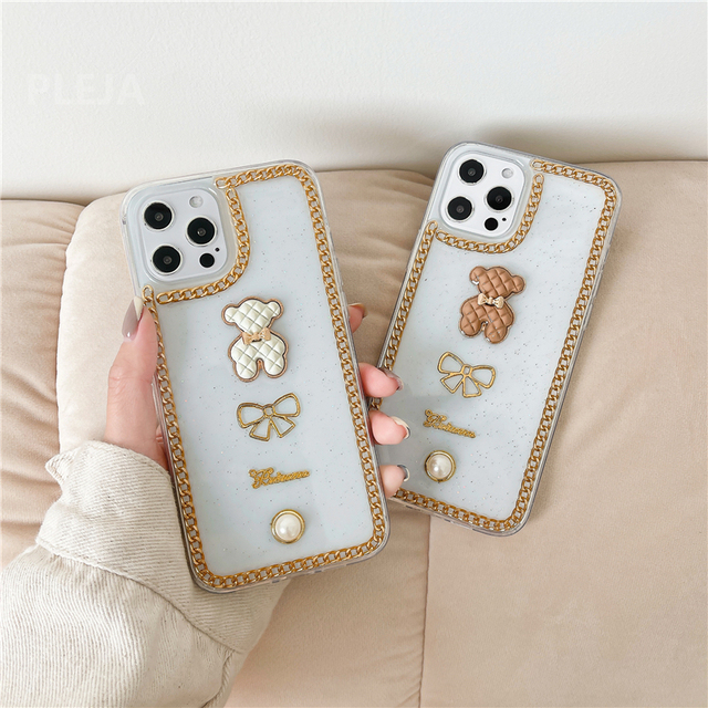 Luxury Glitter Pearl Case For iphone 12 mini 11 Pro Max X XR XS Max SE 2020 7 8 plus Clear Cover Cute 3d Bear Phone Cases Capa
