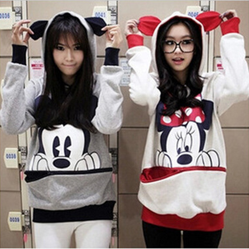 YMYW Women Casual Hoodies Cartoon Mickey Hooded Sweatshirts Printed Pullover For Women Fashion Female Women's Clothing N307 Z30