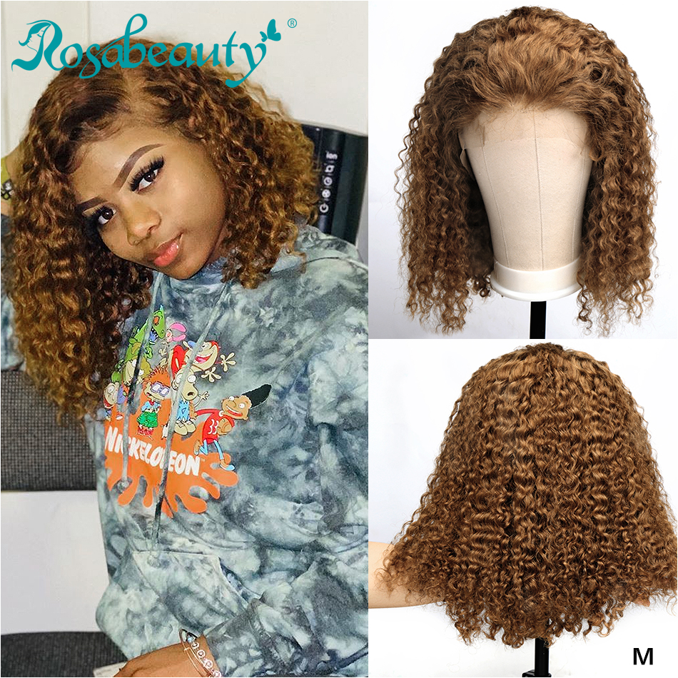 Rosabeauty #27 Ombre Color Short Curly 13x4 Lace Front Human Hair Wigs With Baby Hair Pre Plucked Remy Brazilian Bob Wigs