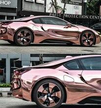 Film vinylique de voiture en rouleau, 1.52x20m, revêtement de miroir en Chrome Rose, très Flexible, sans bulles