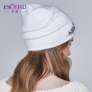Image 4 - ENJOYFUR новые женские зимние шапки с двойной подкладкой Женская кепка со стразами Ангорский кролик толстые осенние вязаные шапки