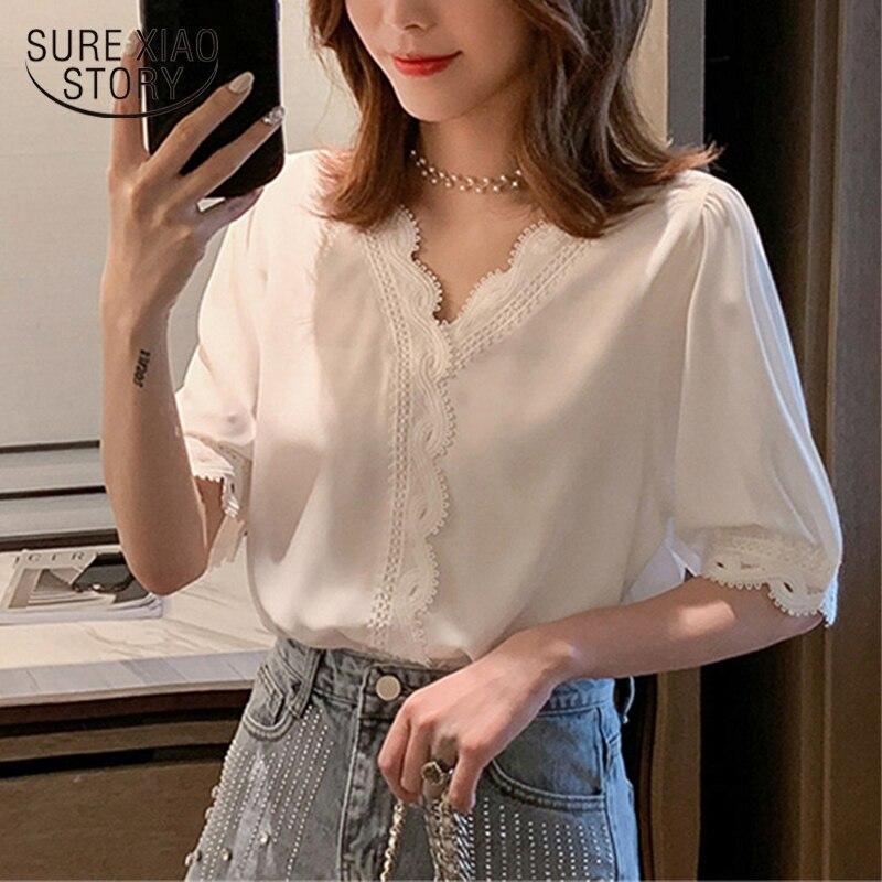 Women Chiffon Shirt Short Sleeve Blouse Summer 2020 New Elegant Sweet V-neck Korean White Hollow Out Blusas Femininas 8988 50