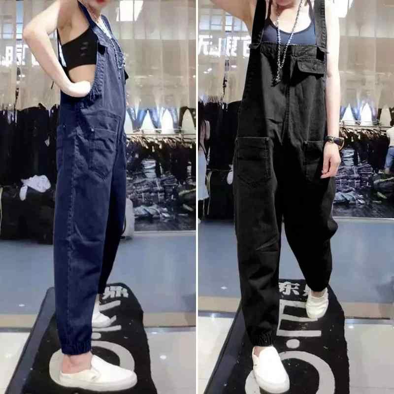 Zanzea 2020 Vrouwen Denim Blauw Jumpsuits Vintage Mouwloze Jarretel Overalls Casual Speelpakjes Vrouwelijke Rompertjes Solid Harembroek