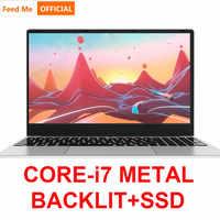 Corps en métal 15.6 pouces Intel i7 ordinateur portable 16GB RAM 256GB 1080P rétro-éclairé clavier double bande WiFi jeu ordinateur portable BT double bande WiFi