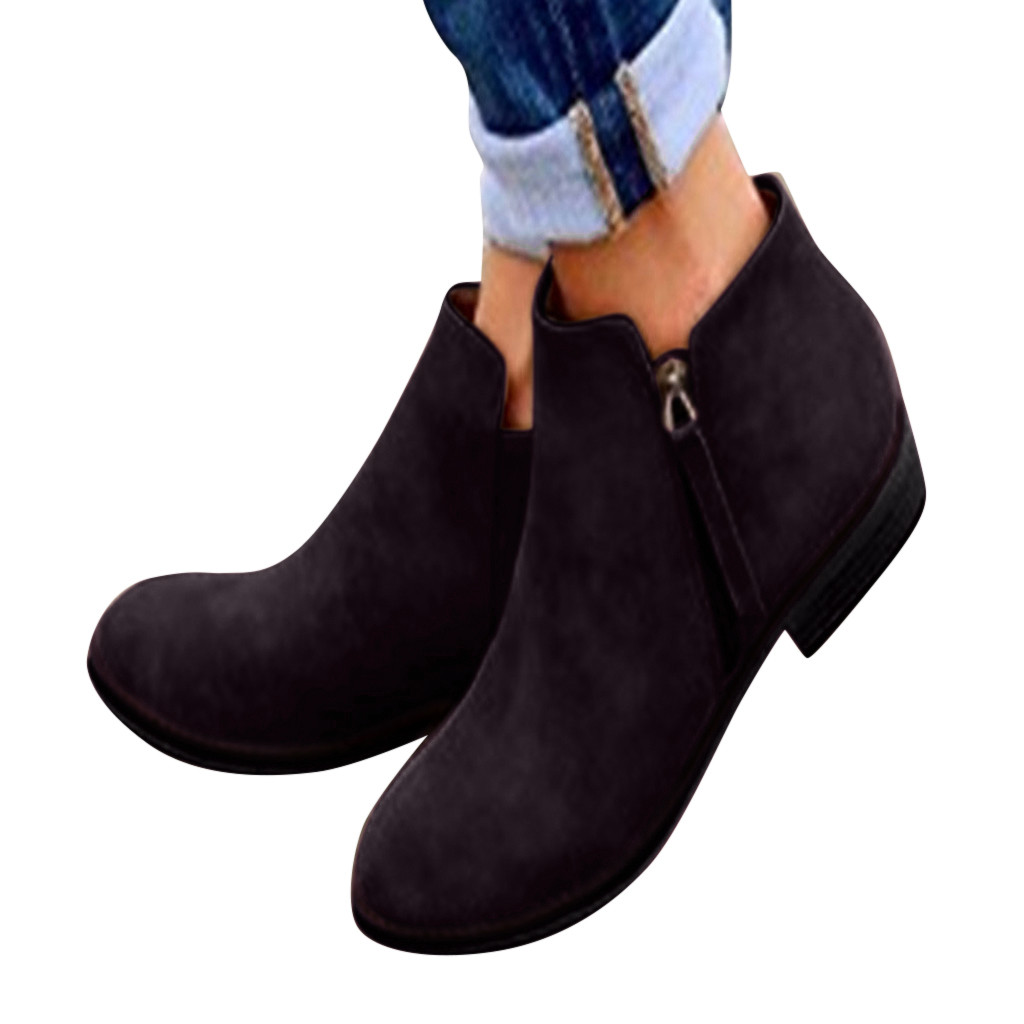 Zapatos de mujer 2019 primavera y otoño nuevos zapatos negros de mujer con cremallera de punta estrecha botas casuales botas de mujer chaussures femme Zapatos planos de alpargatas para mujer, zapatillas blancas superligeras, mocasines de verano y otoño, chaissures, zapatos planos de cesta para mujer