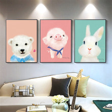 Nordic Rabbit/Pig Poster Modern Wall Art Canvas Painting Animal Prints Pictures for Kids Living Room Home Decor Paintings