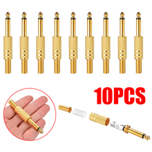 10pcs/lot Gold Plated 6.35mm Jack Plug Audio Connector 1/4Inch Male Mono Jack Plug Audio Adapter Audio Stereo Connectors 50pcs gold plated 3 5mm jack stereo audio mini jack plug right angle or straight connector carbon fiber diameter 6mm