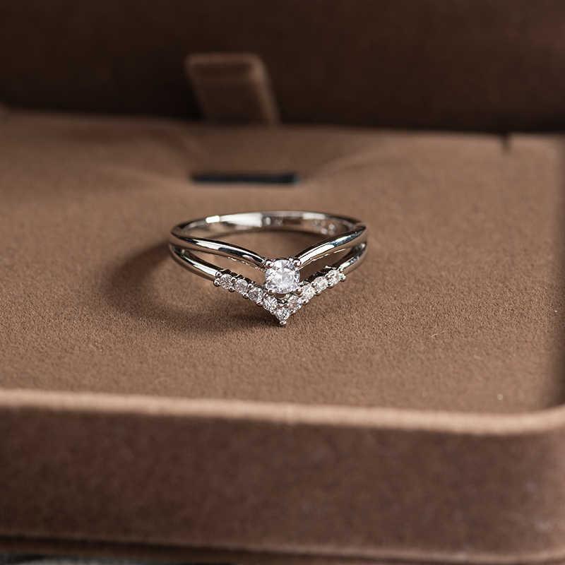خاتم خطوبة بسيط من الزركونيا المكعبة للنساء ، خاتم ، زركونيا ، زركون ، زركون ، زركون ، لون فضي ، هدية