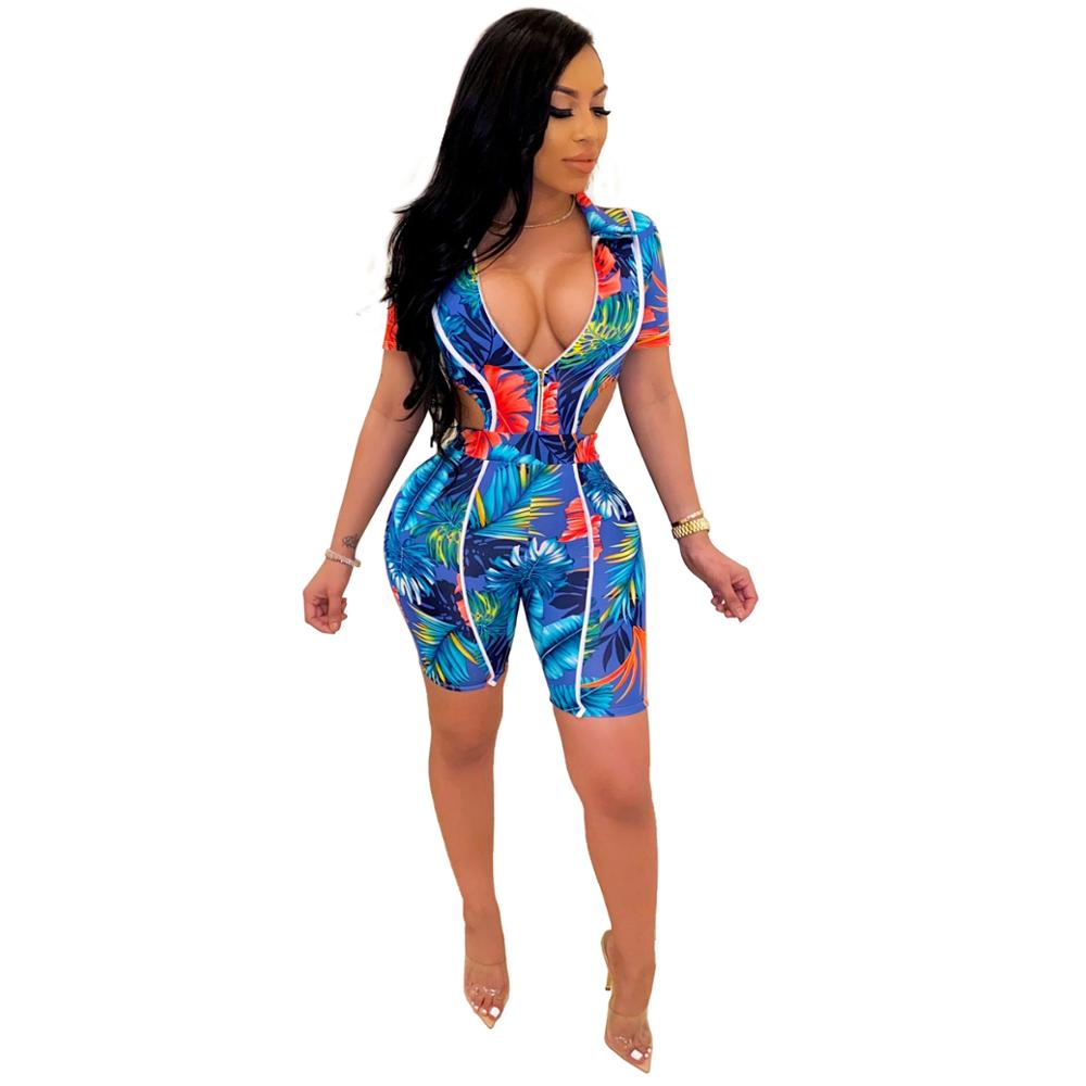 JRRY Casual Print Floral Women Playsuits Zippers Turn Down Collar Bodysuit High Elasticity Waist Bared Ladies Playsuits