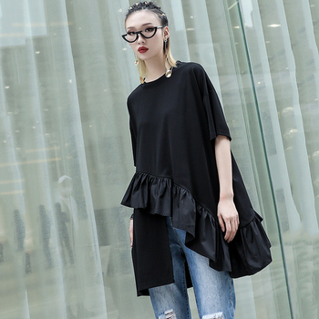 [EAM] Women White Asymmetrical Ruffles Big Size T-shirt New Round Neck Short Sleeve  Fashion Tide  Spring Summer 2020 1S570