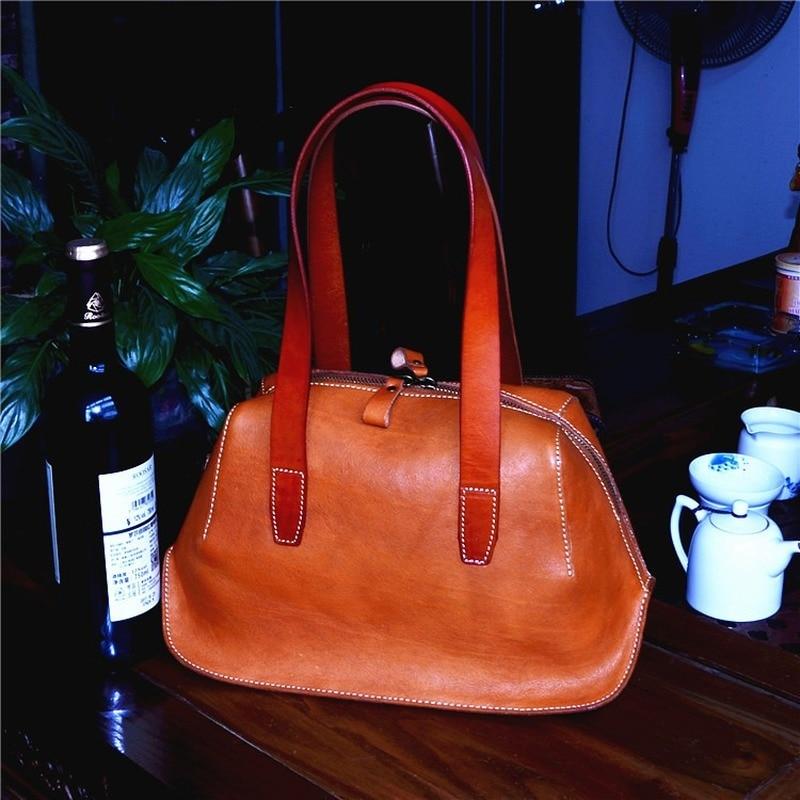 New Women's Bag Vegetable Tanned Leather Vintage Bag Tree Cream Leather Large Capacity Handbag