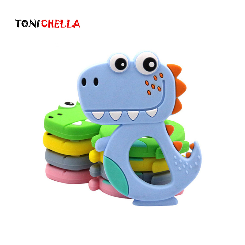1PC Baby Cute Animal Teething Toy BPA Free Silicone Dinosaur Infant Teether Toddler Chew Charms Baby Care Newborn Gift T0737