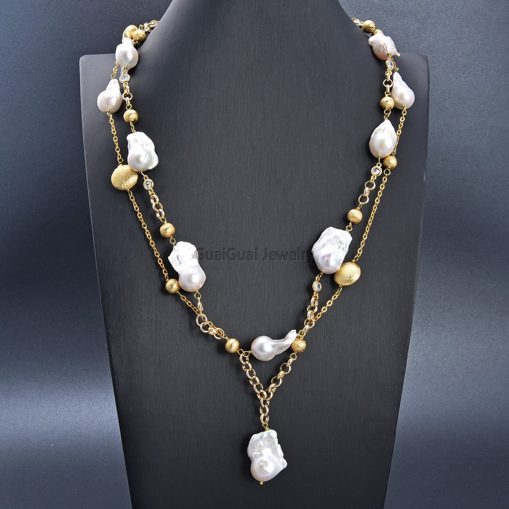 Gg Jewelry 25 2 Rows Cultured White Keshi Pearl Cz Chain Necklace Flash Sale Ed0d Cicig