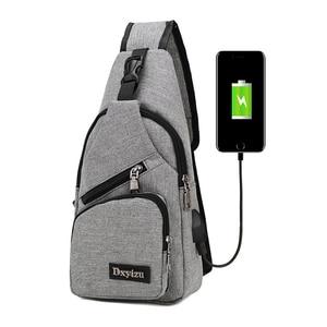 Image 2 - Acoki USB Lade Schulter Crossbody tasche Männer Einbrecher Stealth Zipper Elektronische Kit Brust Pack Abweisend tasche Anti diebstahl Pack