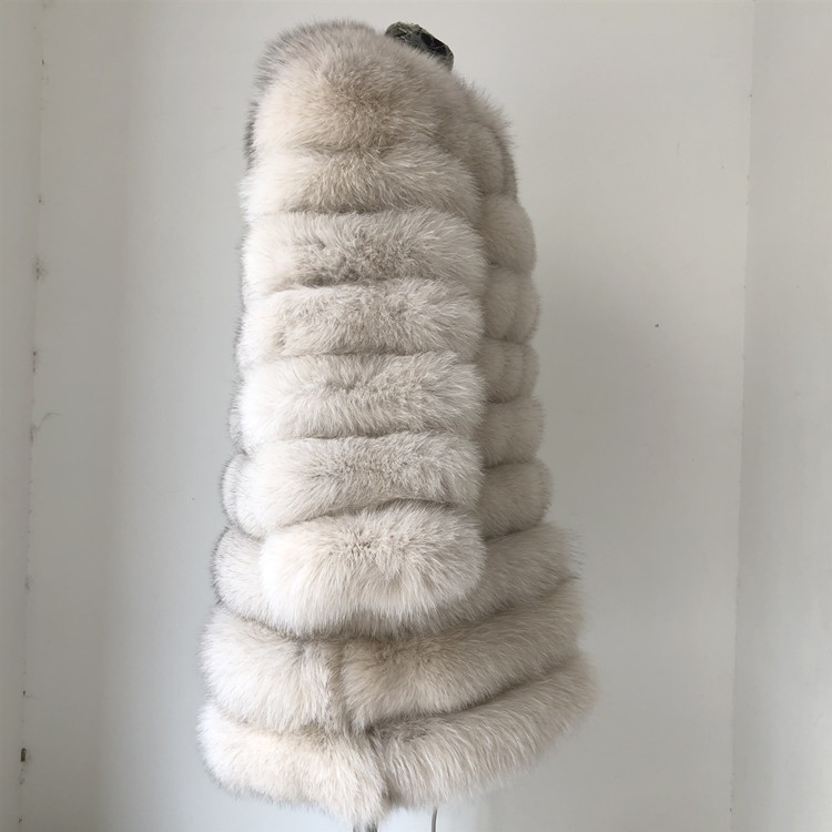 100% Natural Real Fox Fur Coat Women Winter Genuine Vest Waistcoat Thick Warm Long Jacket With Sleeve Outwear Overcoat plus size 59