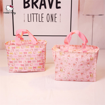 HELLO KITTY Fashion Portable Ladies Handbag Cute Cartoon Lunch Box Large Capacity Handbag High Capacity Canvas Bag HK-213